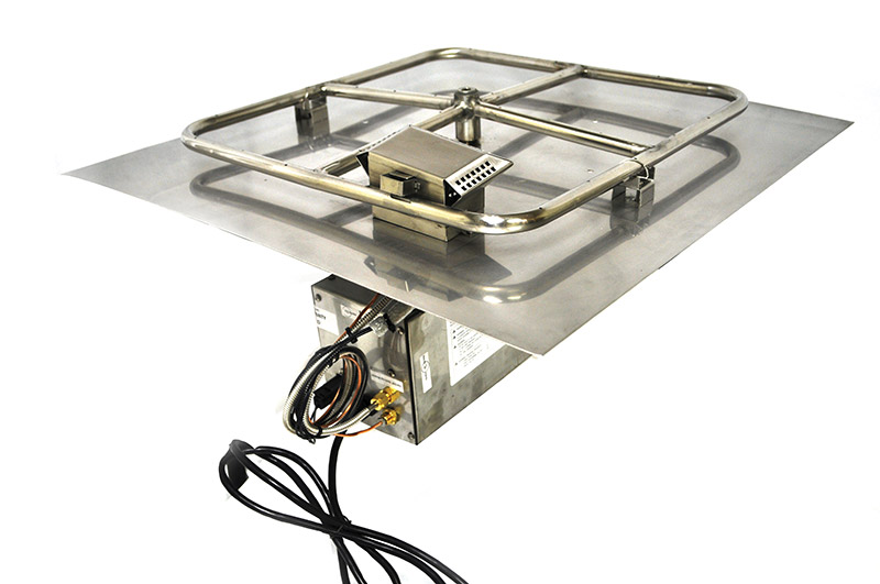 Square 18 Inch Stainless Steel Remote Control Fire Pit Insert