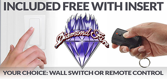 Diamond Fire Glass - Included FREE with your Fire Pit Insert Order - Your choice of wall switch or remote control