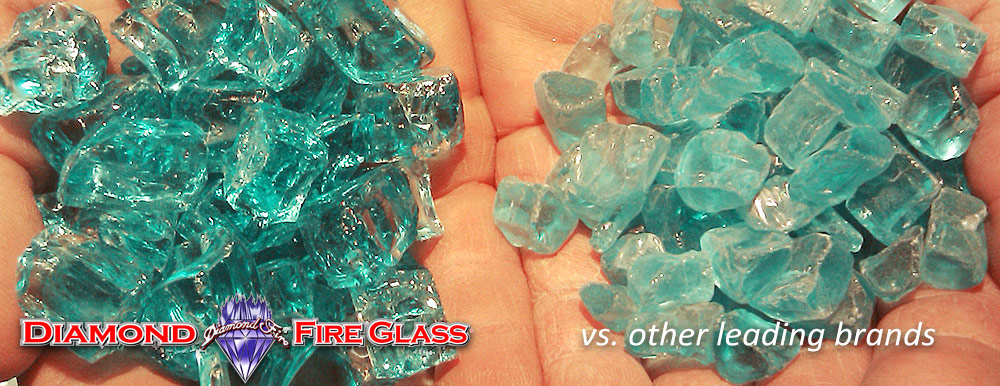 What Fire Pit Glass Is Better? Bahama Blue Nugget Genuine Diamond Fire Pit Glass ® vs. Other Leading Brand Glass