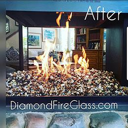 Gold Mine Premixed fireplace glass installed in an indoor fireplace by Diamond Fire Glass