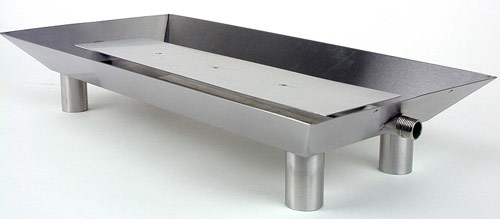 "Fluted Rectangle Stainless Steel Pan Burner - 16"" x 12"" x 4.25"""