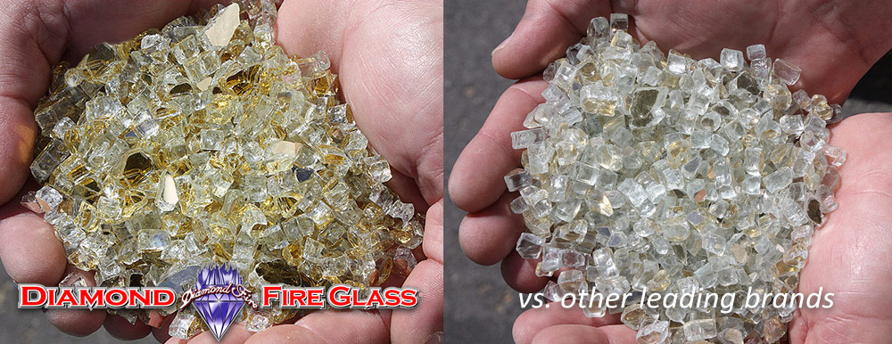 What Fire Pit Glass Is Better? Gold Reflective Genuine Diamond Fire Pit Glass ® vs. Other Leading Brand Glass