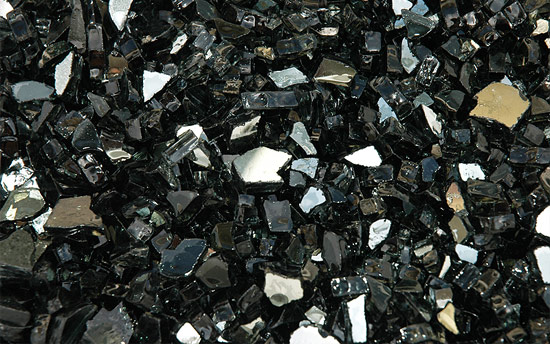 Black Reflective Fireplace Glass Crystals