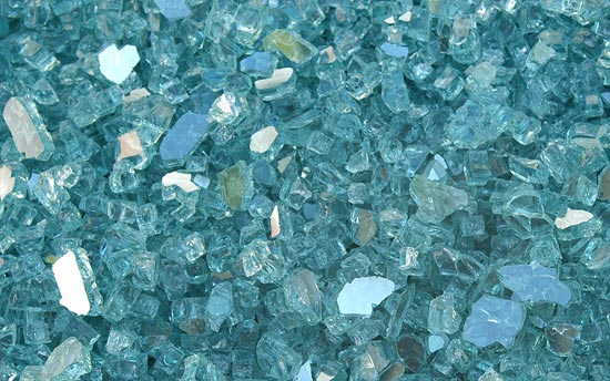 Blue Green Fireplace Glass Crystals