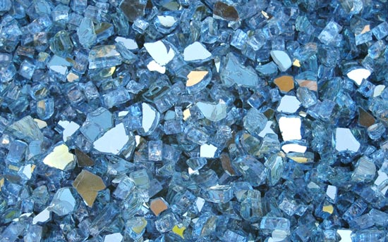 Blue Reflective Fireplace Glass Crystals