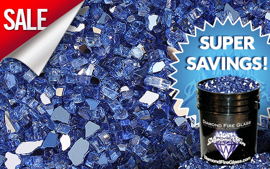 Electric Blue Reflective Fireplace Glass Crystals