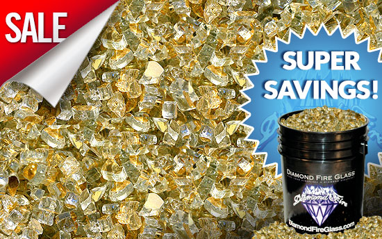 Gold Reflective Fireplace Glass Crystals