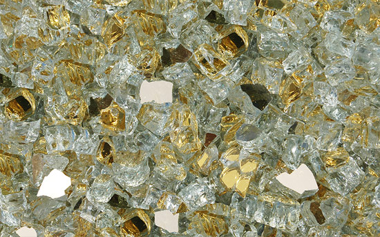 Gold Reflective Nugget Diamond Fire Glass