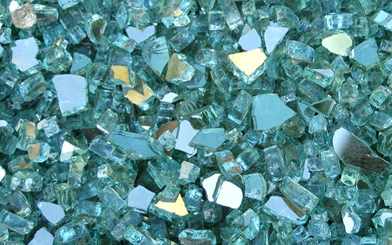 Green Reflective Fireplace Glass Crystals