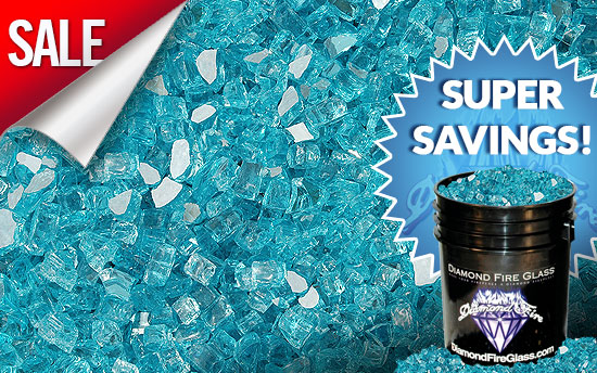 Bahama Blue Reflective Fireplace Glass Crystals