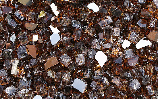 Copper Reflective Nugget Fireplace Glass Crystals