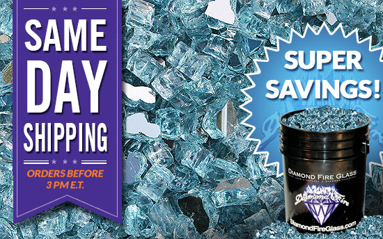 Reflective Caribbean: Fire Pit And Fireplace Glass On Sale This Week! Diamond