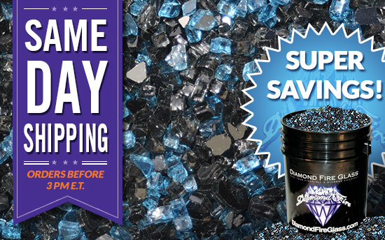 Royal Black Ice Premixed Fireplace Glass Crystals