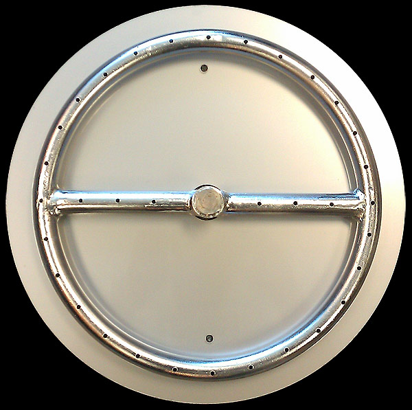 "Stainless Steel 12"" Fire Pit Ring with 14"" Flat Disc Pan"